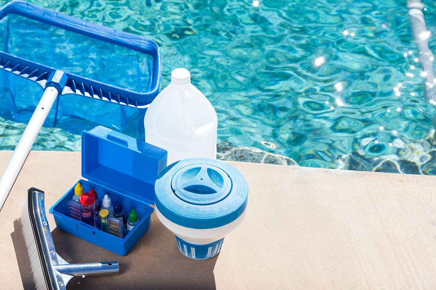 Equipment for testing the quality of pool water and cleaning a pool.