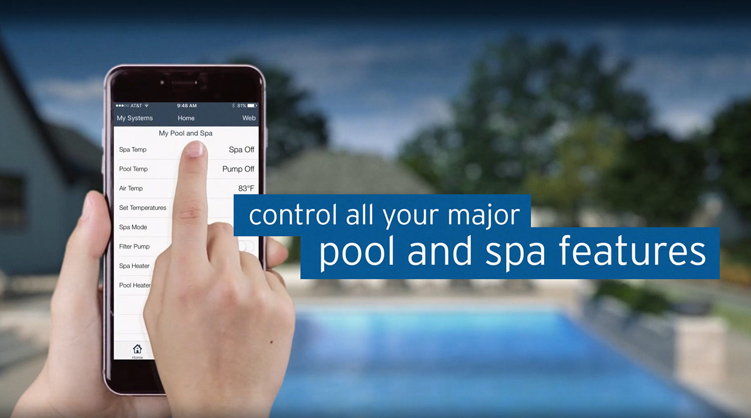 The iAquaLink Pool Control App lets you control your pool anytime, from anywhere