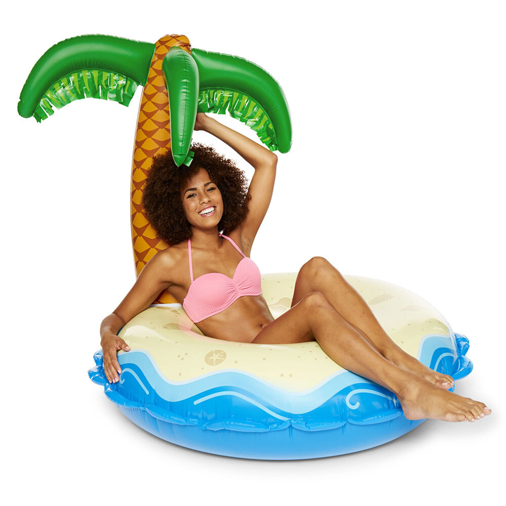 Woman laying in Pool on a Tropical Island Pool Float